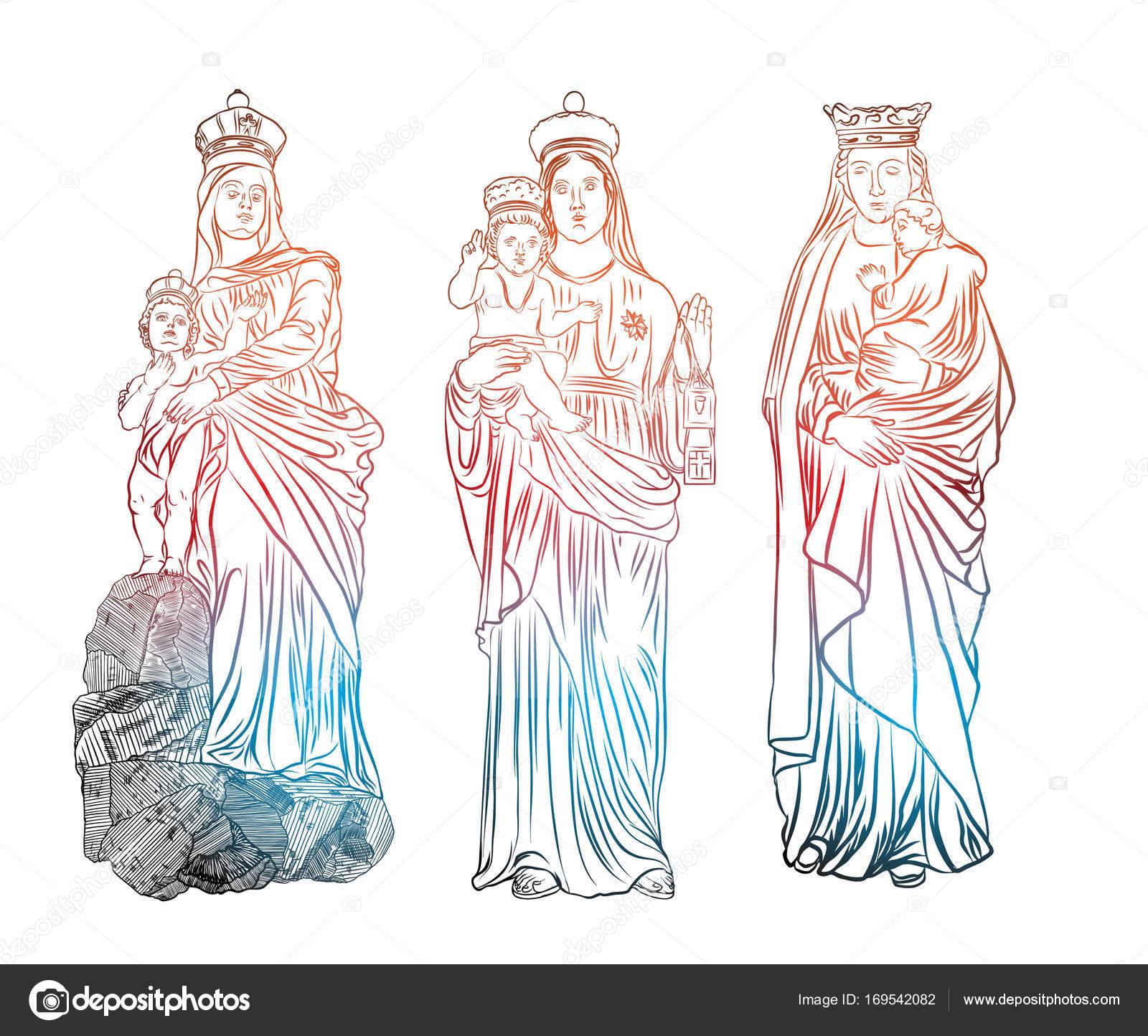 1600x1444 Virgin Mary Religious Statues Set Stock Vector Goldenshrimp