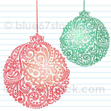 450x450 Hand Drawn Abstract Henna Paisley Sketchy Christmas Ornament