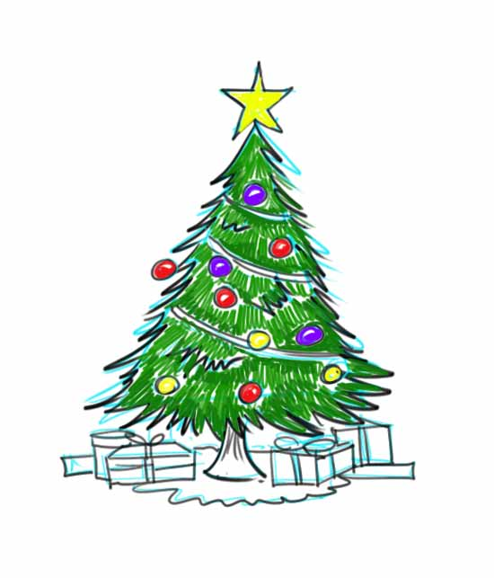 550x643 How To Draw A Christmas Tree