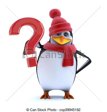 450x470 3d Christmas Penguin Has Question For You. 3d Render