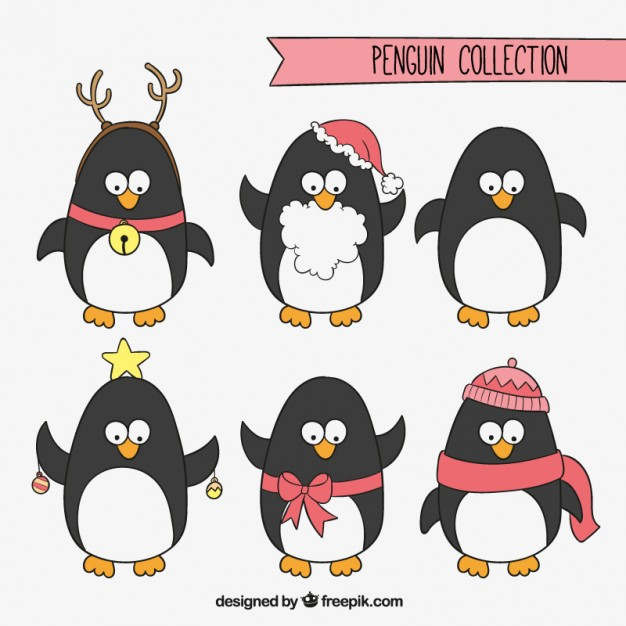 626x626 Christmas Penguins Collection Vector Free Download