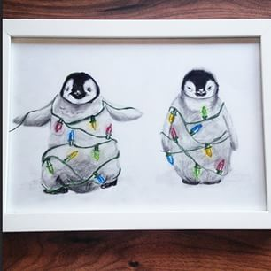 306x306 christmas penguin coloured pencil drawing by xmy craftsx on deviantart
