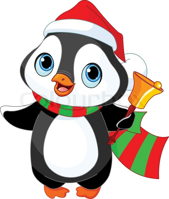 680x800 Cute Christmas Penguin With Jingle Bell Stock Vector Colourbox