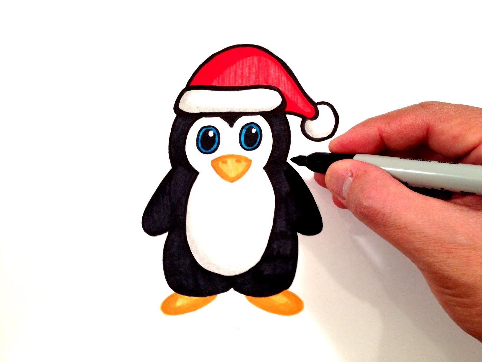 1632x1224 How To Draw A Penguin With A Santa Hat
