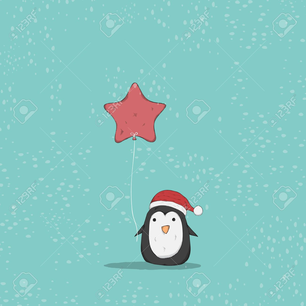1300x1300 Penguin Cute Christmas Character. Vector Illustration, Drawing
