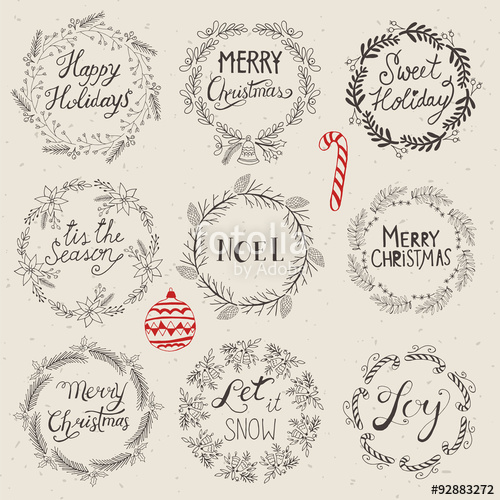 500x500 Christmas Wreath Set For Logo Design. Hand Drawing Vector Illust