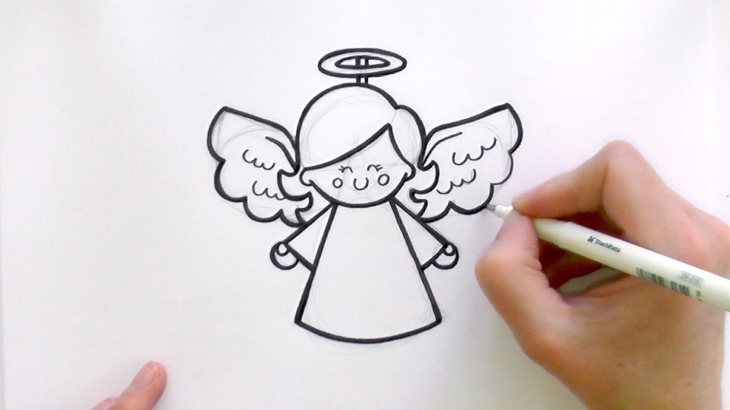 1024x576 Easy Angel Drawings How To Draw A Cartoon Christmas Angel Youtube