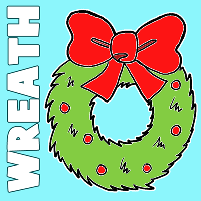 400x400 How To Draw Cartoon Christmas Wreaths