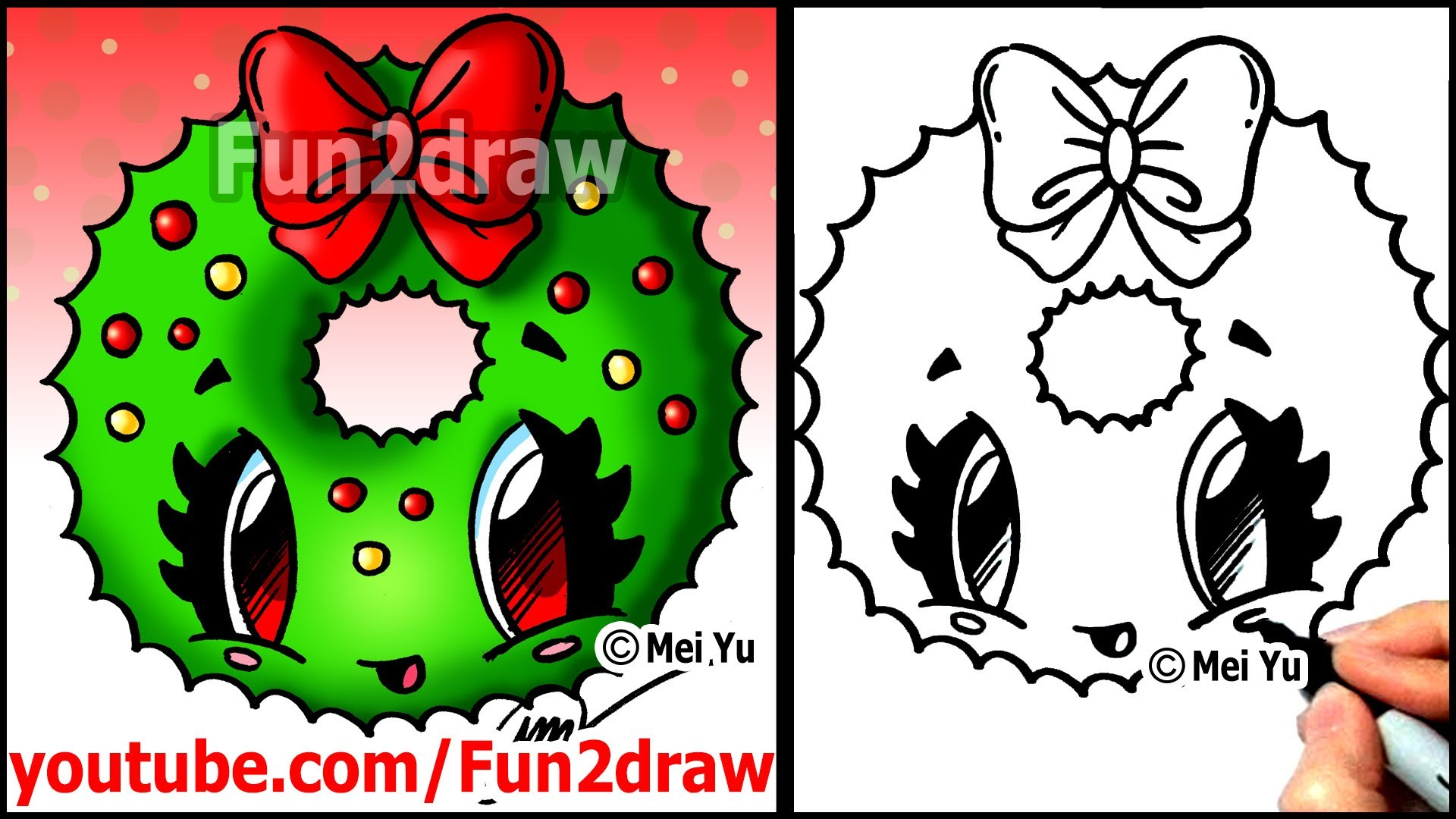 1920x1080 How To Draw A Christmas Wreath With A Bow