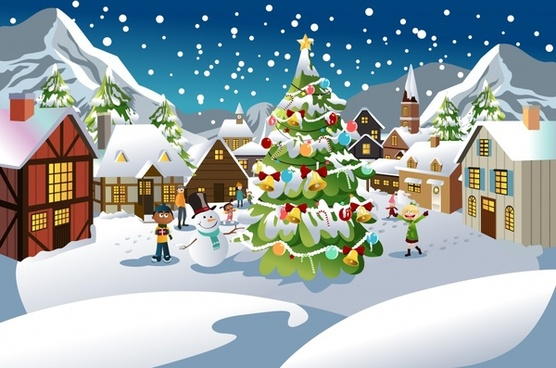 556x368 Christmas Scene Drawing Free Vector Download (96,398 Free Vector
