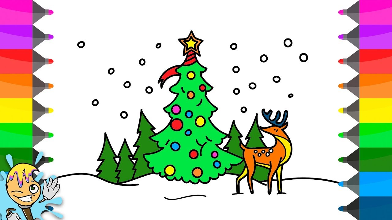 1280x720 How To Draw Christmas Scene. Coloring Pages. Learning Drawing