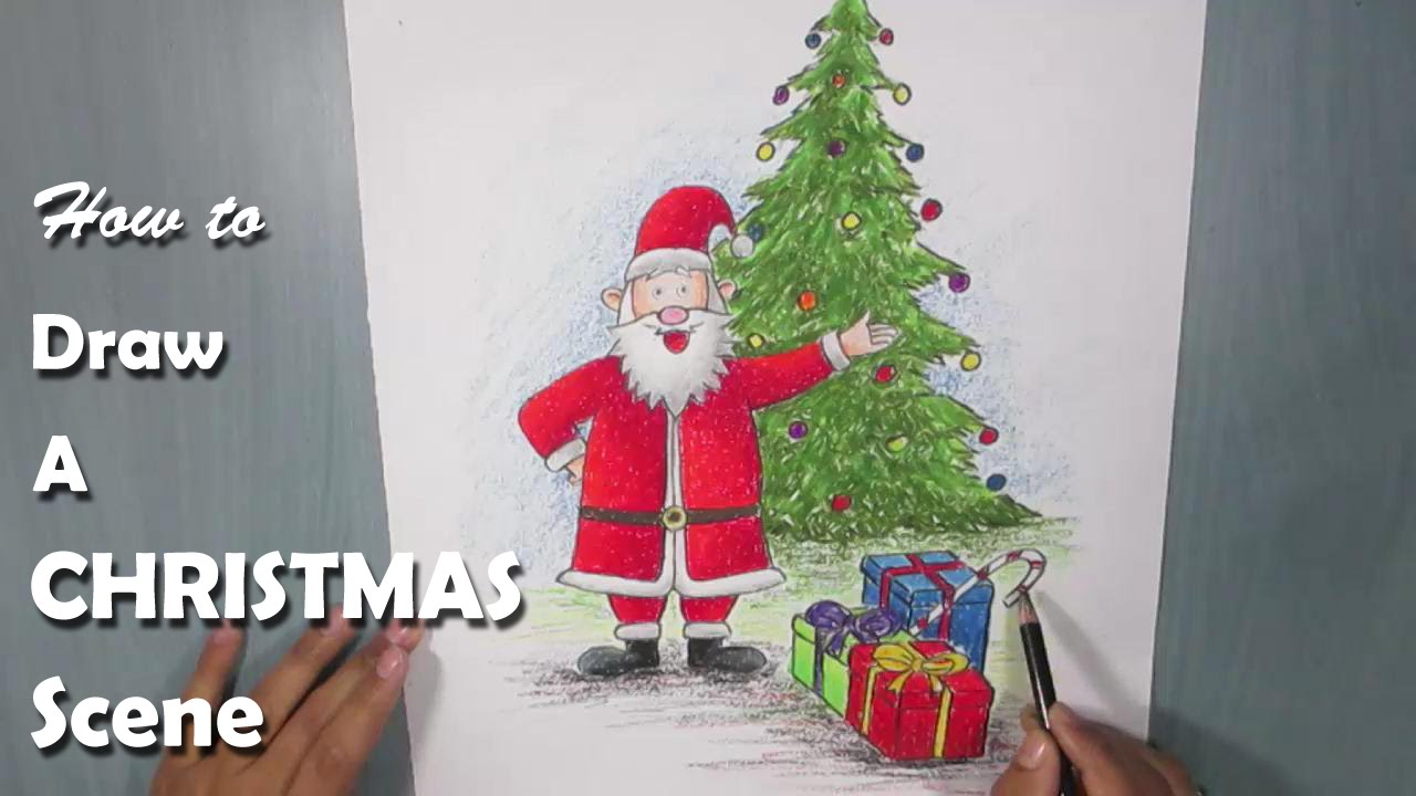 1280x720 How To Draw A Christmas Scene With Oil Pastel