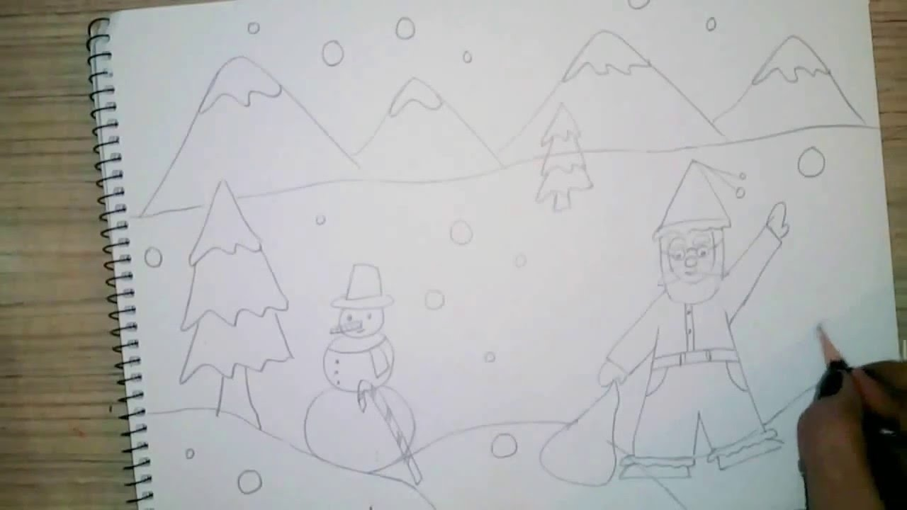 1280x720 How To Draw Christmas Scene For Kids