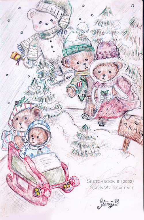 500x761 Teddy Bear Winter Christmas Scene Drawing In Colored Pencils