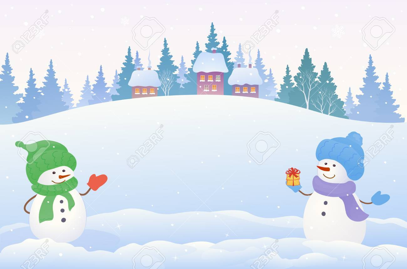 1300x861 Vector Drawing Of A Christmas Snow Scene With Two Cute Snowmen
