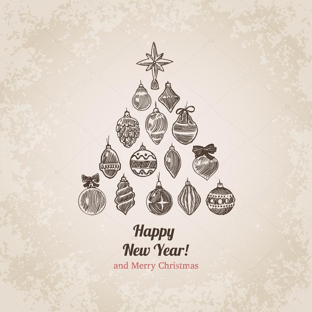1024x1024 Christmas Tree Decorations Set New Year Handdrawn Engraving Style