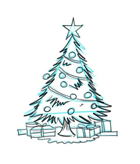 550x643 Drawing Of Christmas Tree With Decoration] A Big Christmas Tree