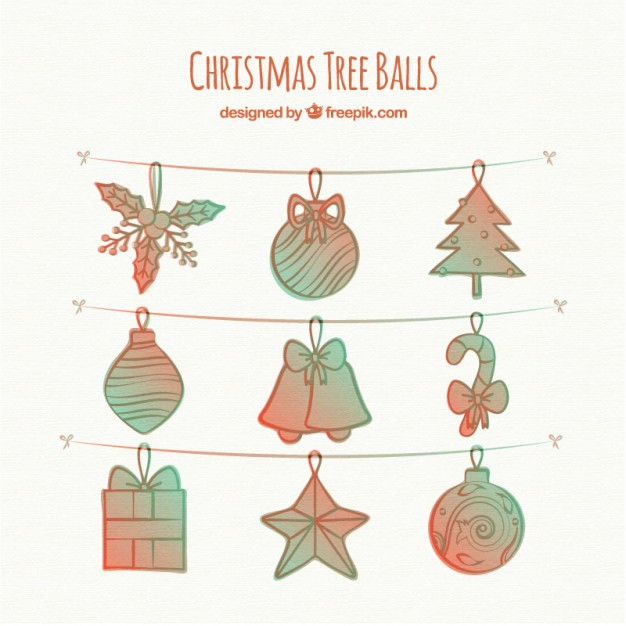 626x626 Hand Drawn Christmas Tree Decoration Vector Free Download