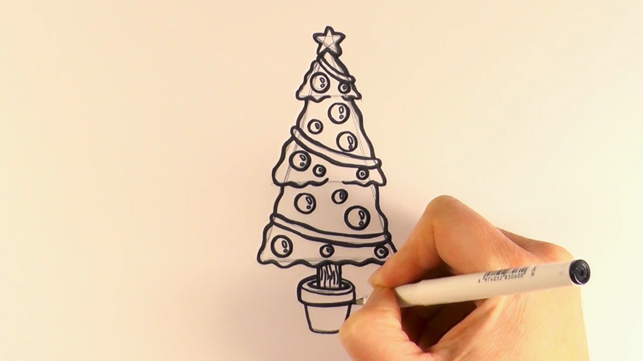 1280x720 How To Draw A Christmas Tree And Decorations