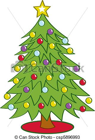 319x470 Drawing Of Christmas Tree With Decoration