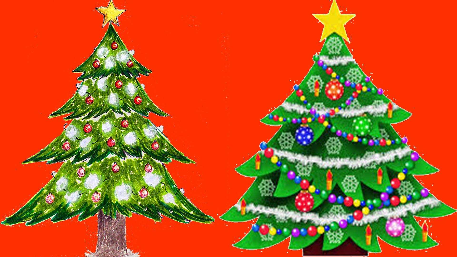 1920x1080 Christmas Tree Drawing Painting Coloring Boyaboya