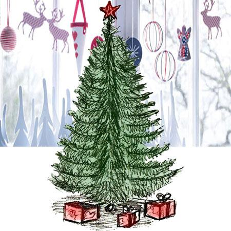 450x450 Coloring For Kids. Draw A Christmas Tree In Pencil And Color It