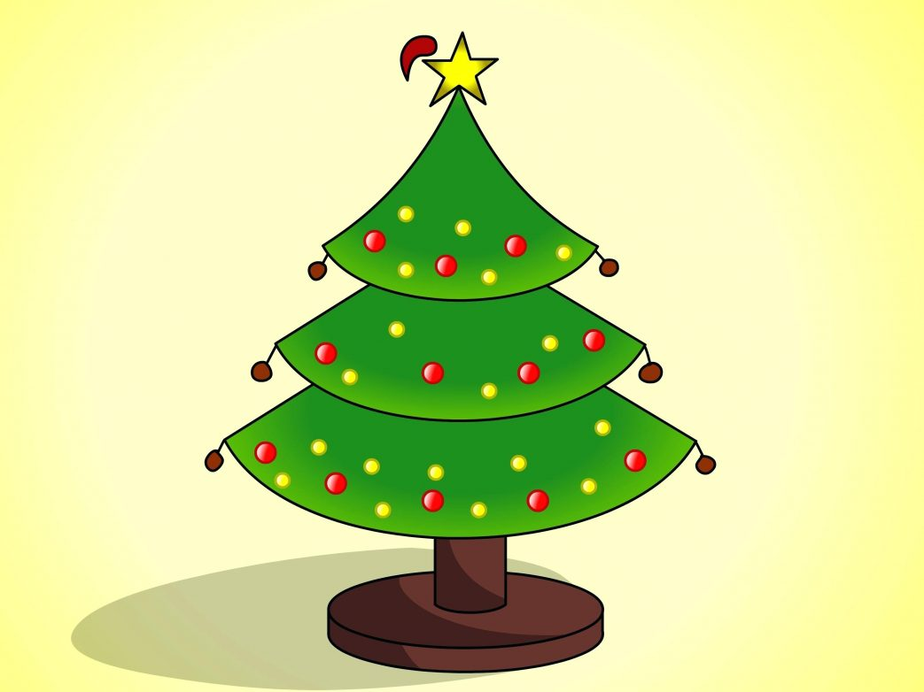 1043x782 Hello Kitty Coloring Pages Cartoon Christmas Tree Free Printable