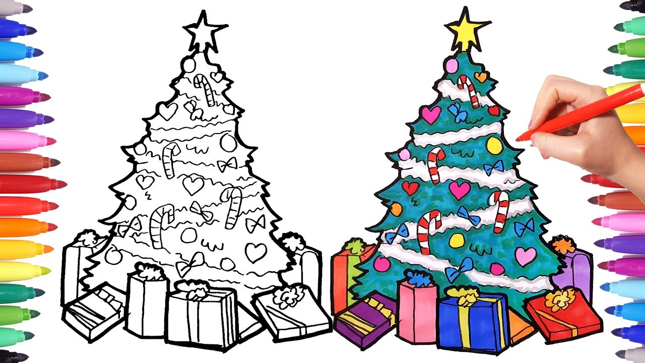 1280x720 How To Draw A Christmas Tree Drawing And Coloring Christmas Tree