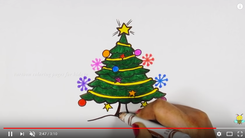 841x474 How To Draw Christmas Tree Drawing Coloring Pages For Kids Art