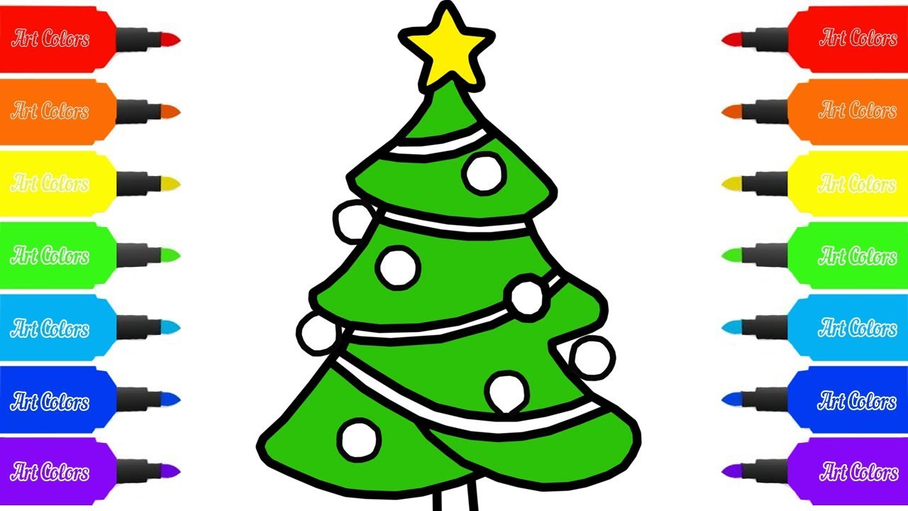 1280x720 How To Draw A Christmas Tree For Kids Coloring Pages Art