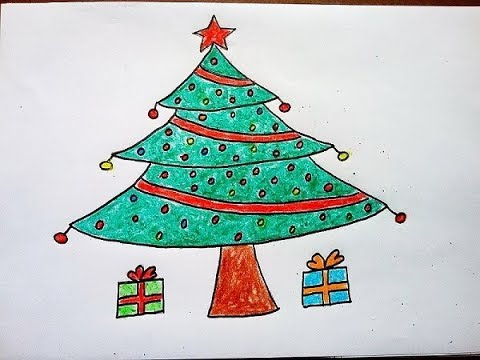 480x360 How To Draw Christmas Tree Easy For Kids. Christmas Drawing