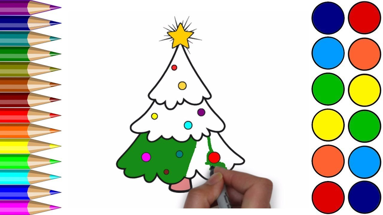 1280x720 Drawing Christmas Tree For Children Xmas Tree Coloring Pages