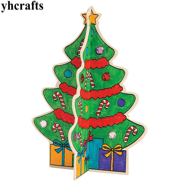 640x640 6pcslot.diy Amp Paint Unfinished Christmas Tree Drawing Toys