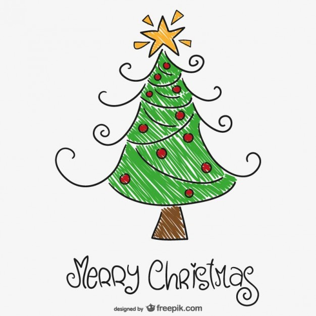 626x626 Colorful Christmas Tree Drawing Vector Free Download