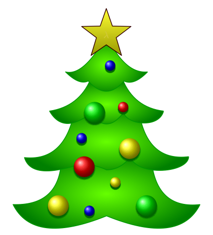 431x476 How Can We Draw A Christmas Tree With Decorations Using TikZ
