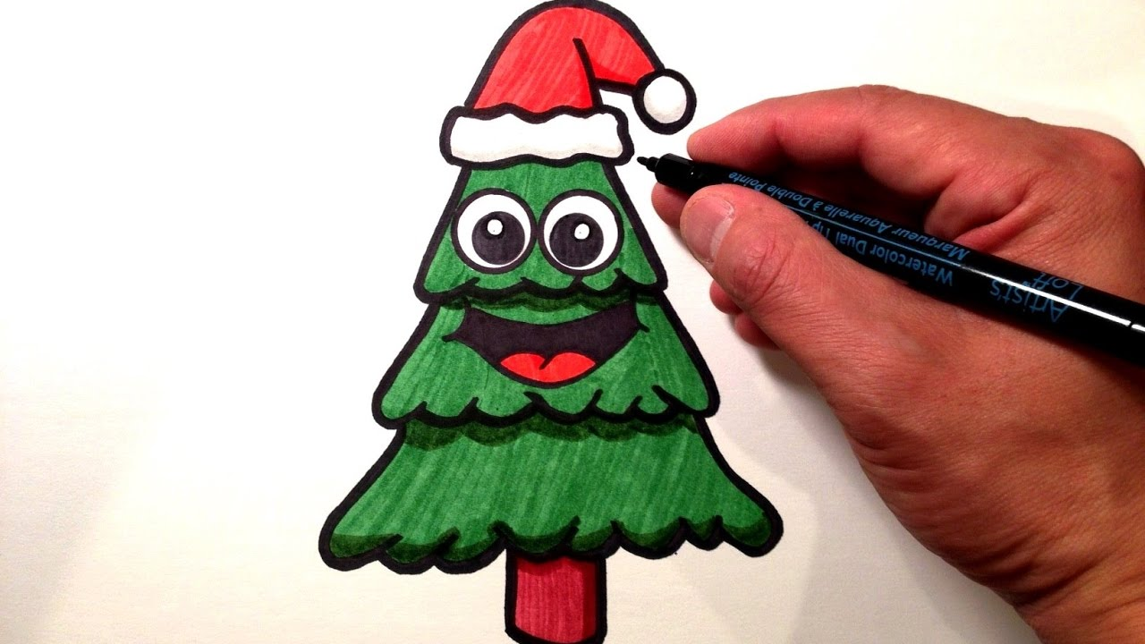 1280x720 How To Draw A Cute Christmas Tree