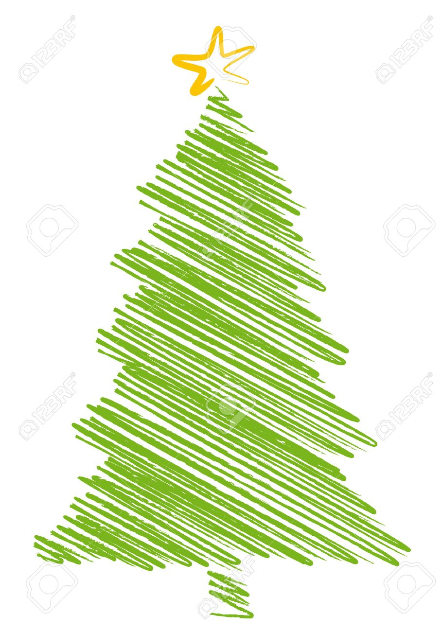909x1300 Christmas Tree Scribble Drawing, Background Royalty Free Cliparts