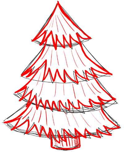 400x488 how to draw christmas trees step by step drawing lesson