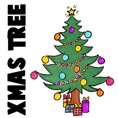 400x400 How To Draw A Christmas Tree With Gifts Amp Presents Under It