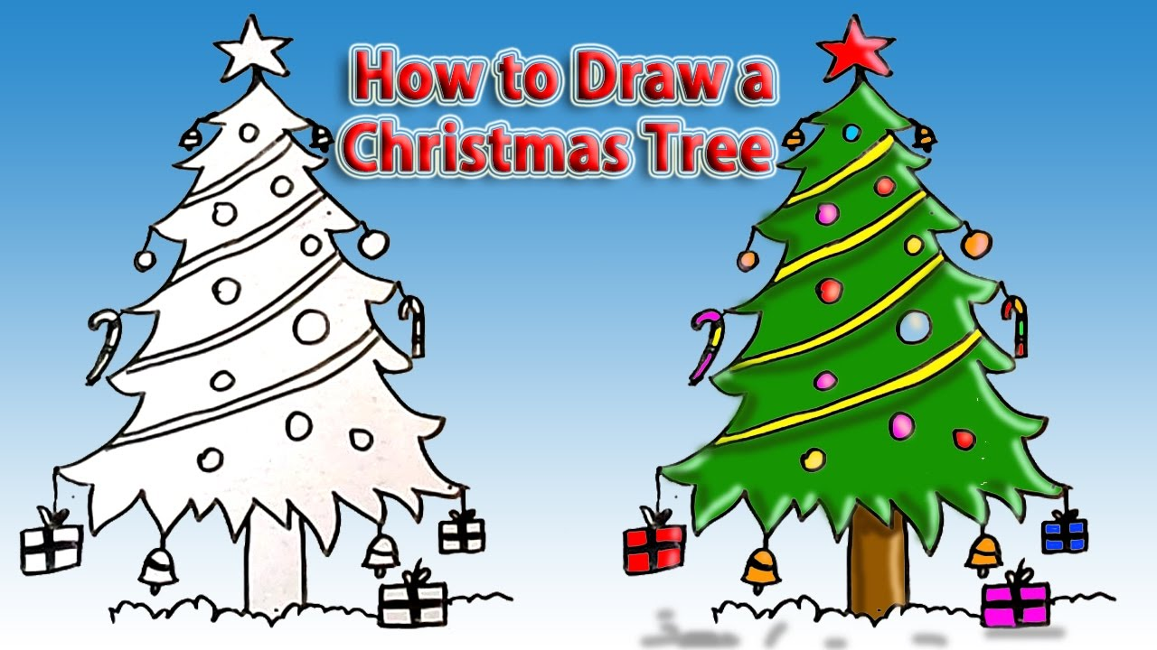 1280x720 How To Draw Christmas Tree Simple Drawing Tutorial For Beginners