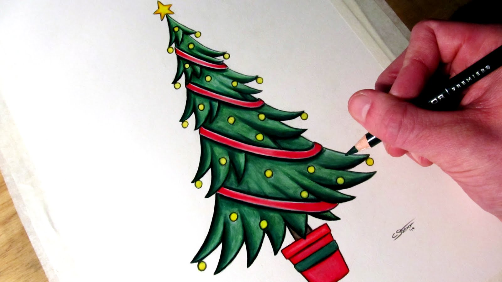 1600x900 How To Draw A Christmas Tree