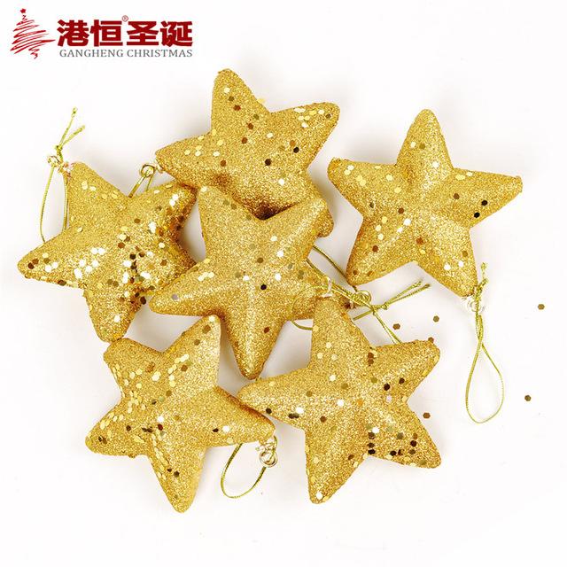 640x640 6pcs Luxury Sequins Gold Star 13cm Christmas Tree Hanging Star