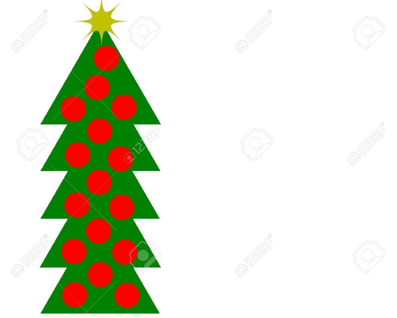 1300x1040 Drawing Of A Christmas Tree With Red Balls And Gold Star Stock