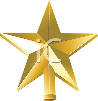 341x350 Golden Beveled Star Christmas Tree Topper