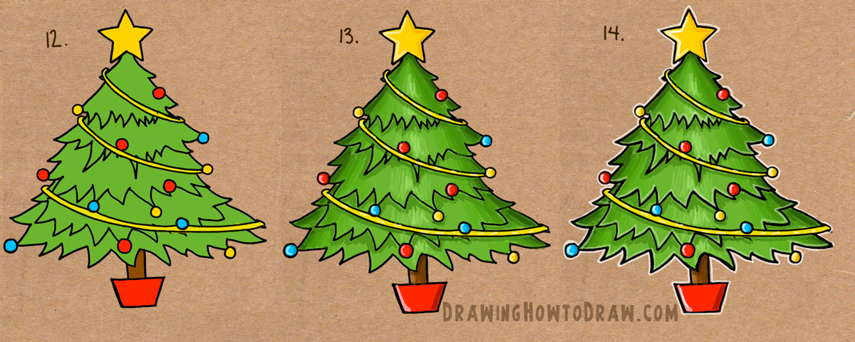 1200x480 How To Draw A Christmas Tree With Simple Step By Step Tutorial