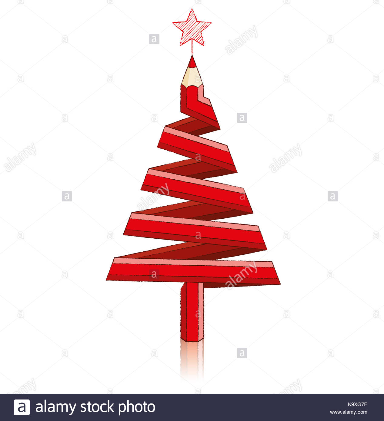 1267x1390 Red Pencil In Shape Of Christmas Tree With Reflection Drawing Star