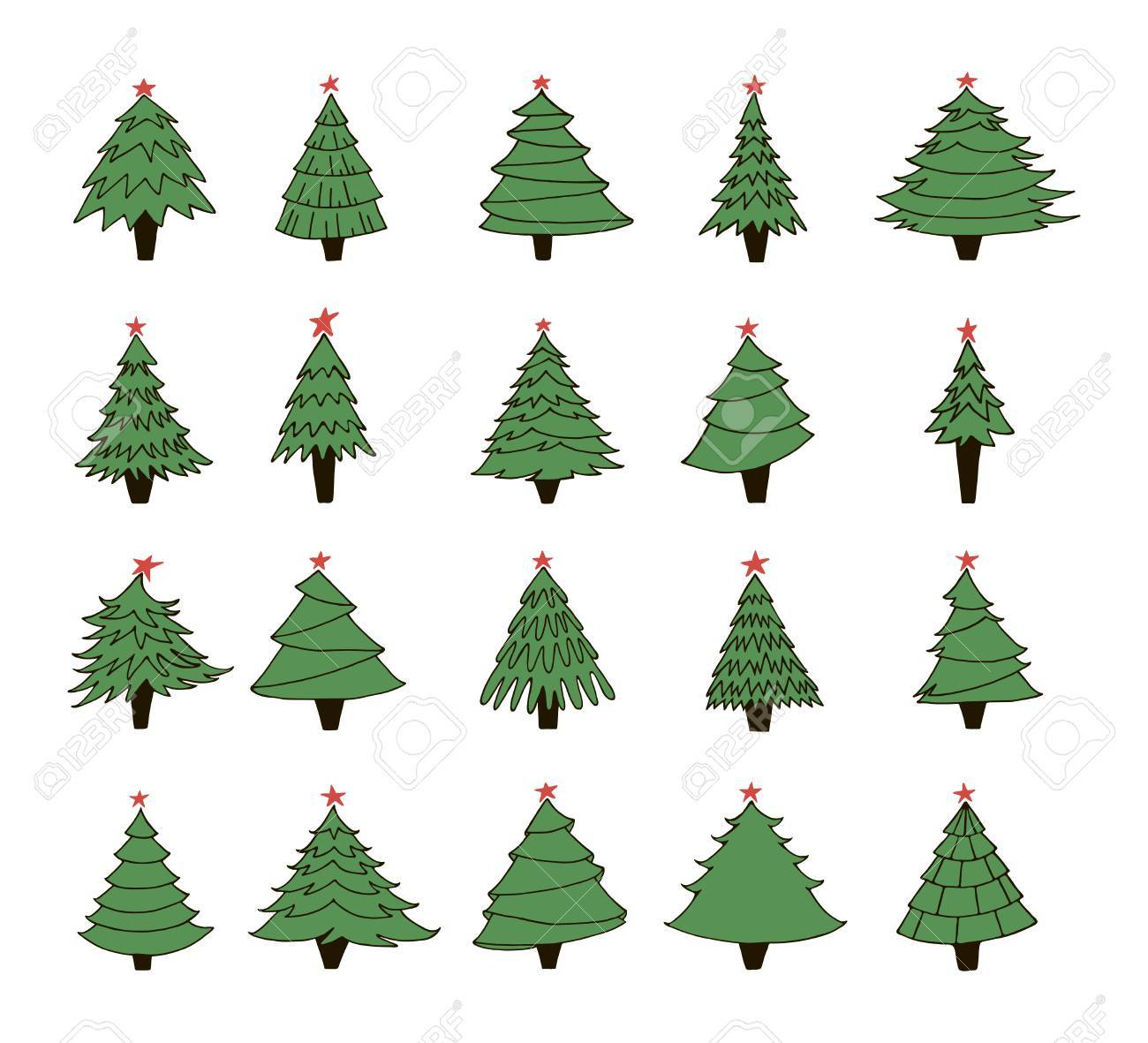 1300x1181 Set Of Hand Drawn Christmas Trees. Contour Drawing. Vector