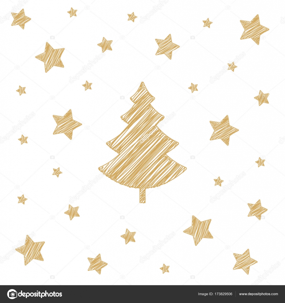 963x1024 Christmas Tree Stars Scribble Drawing Card White Background
