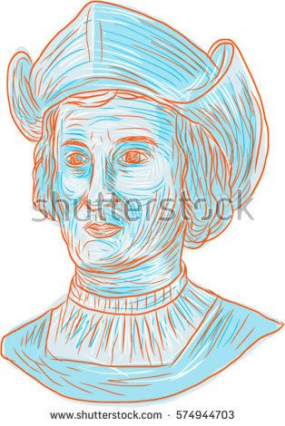 314x470 Drawing Sketch Style Illustration Of Christopher Columbus