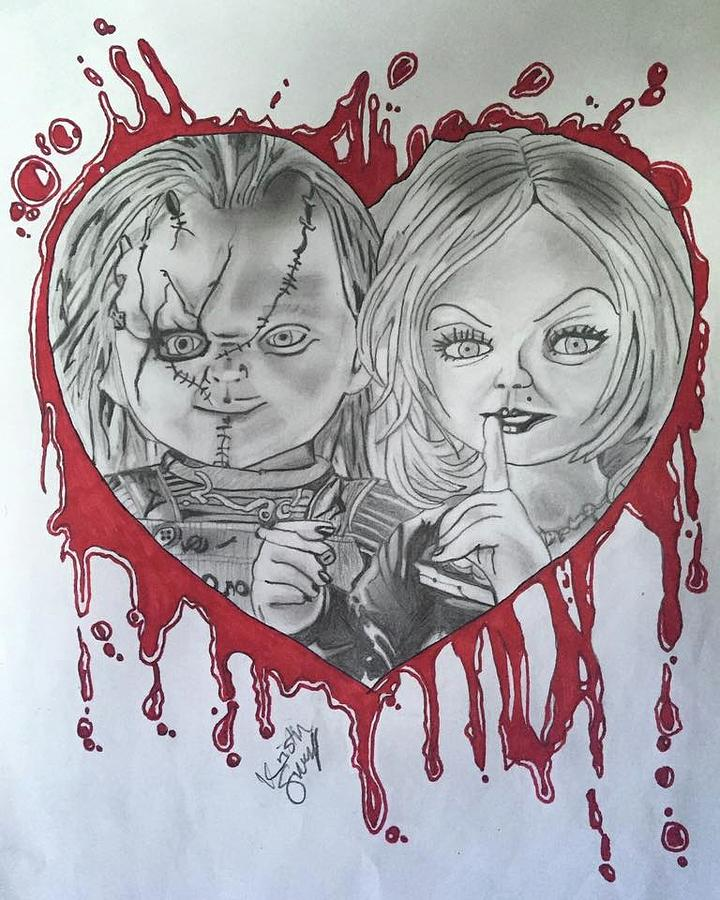 720x900 Chucky And Tiffany Drawing By Kristin Salley